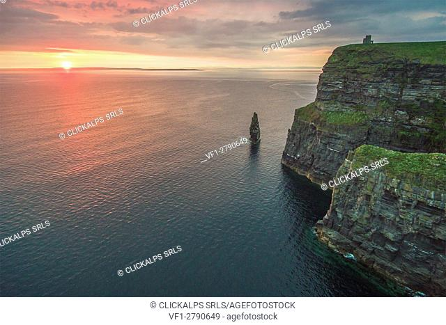 Cliffs of Moher (Aillte an Mhothair), Doolin, County Clare, Munster province, Ireland, Europe. Aerial view of the cliffs at sunset