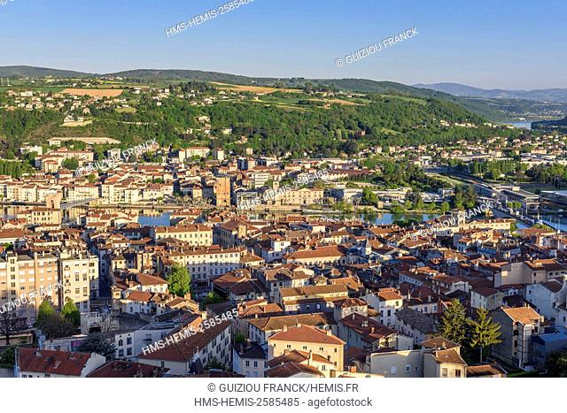 France, Isere, Vienne on the edge of Rhone river, Sainte-Colombe (Rhone) in the background, Cordeliers convent and the Valois tower