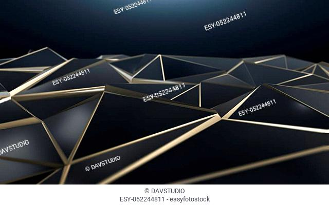 3D render Black and gold abstract low poly triangle background 4k