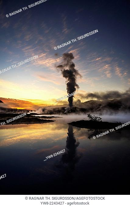 Steam and foggy landscape by The Bjarnarflag Geothermal Power Plant, Lake Myvatn area, Northern Iceland