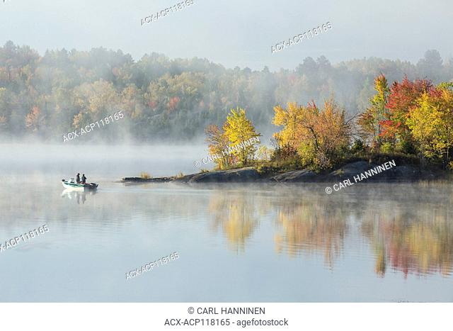 Fishermen on foggy autumn morning, Vermilion River, Whitefish, City of Greater, Sudbury, Ontario