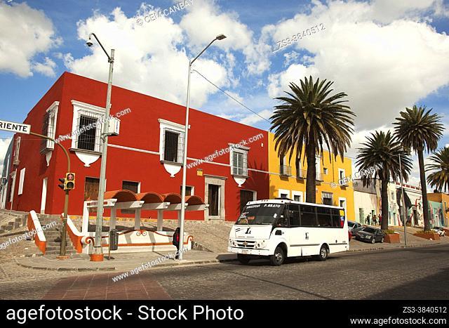View to the colonial buildings in El Alto district at the historic center, Puebla, Puebla State, Mexico, Central America