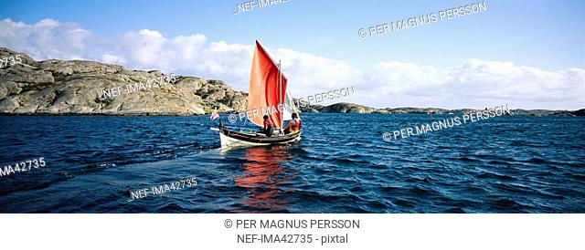 Sailing-boat at sea