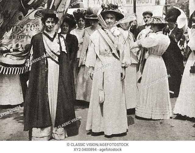 Lady Emmeline Pethick-Lawrence, 1867-1954, left. British women's rights activist. Emmeline Pankhurst , née Goulden, 1858-1928, right
