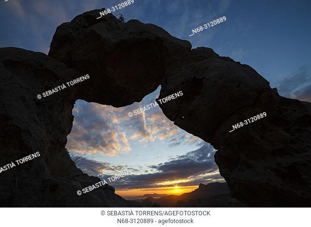 Stone arch at dawn, Serra de Tramuntana, Escorca, Majorca, Balearic Islands, Spain