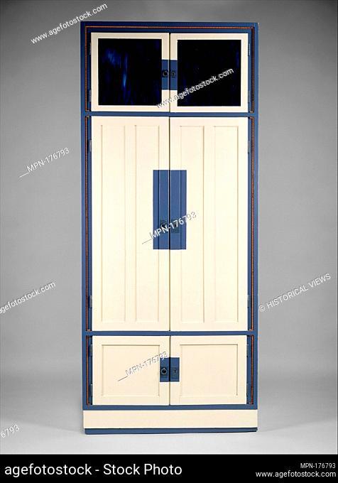 Cabinet. Artist: Koloman Moser (Austrian, Vienna 1868-1918 Vienna); Date: ca. 1903; Medium: Wood, glass, pewter, paint; Dimensions: H. 83, W.35, D