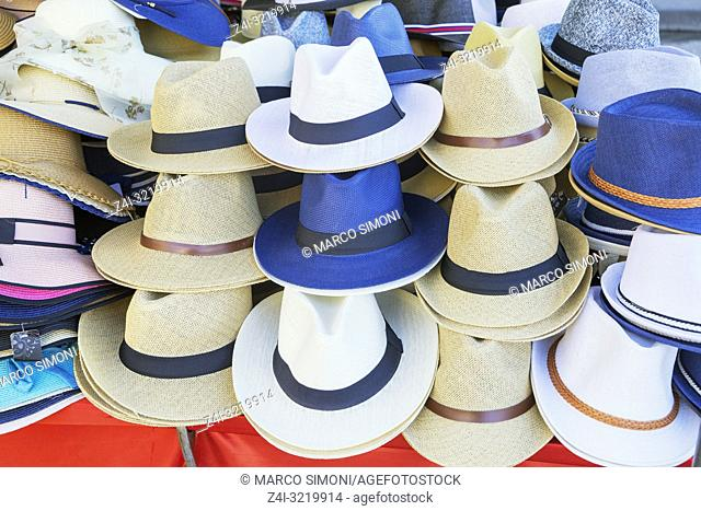Close-Up Of Hats for Sale, Pisa, Tuscany, Italy, Europe