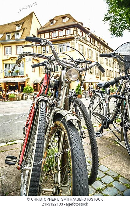 Bicycles in Le Petit France - the old town of Strabourg, France