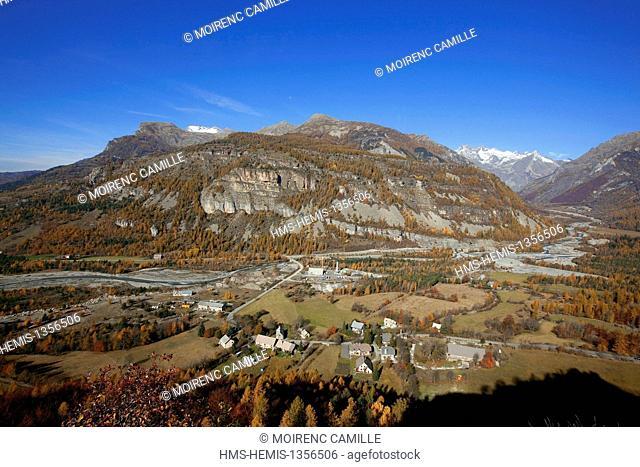 France, Hautes Alpes, Champsaur Valley, Saint Jean Saint Nicolas, Ditch Bridge, the valley of the Drac Blanc right