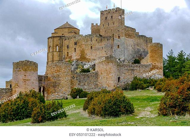 Medieval castle of Loarre over the rocks in Aragon, Spain