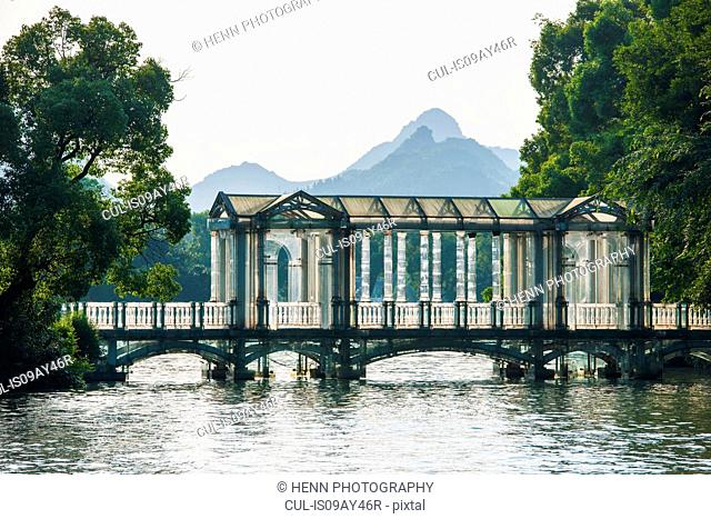 The glass bridge at Banyan lake in Guilin, Guangxi, China