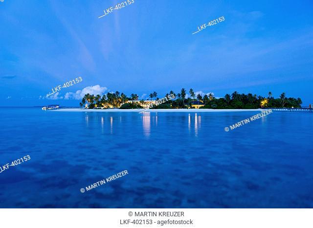 View of island Gaafu Alifu Atoll, North Huvadhoo Atoll, Maldives