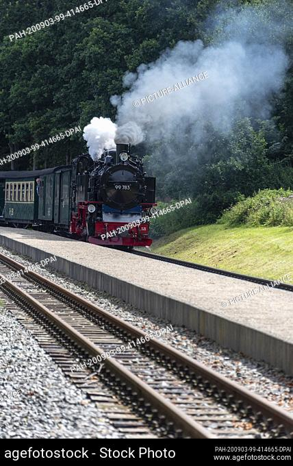 03 August 2020, Mecklenburg-Western Pomerania, Garftitz: A steam locomotive 99 783 enters the small station near the Granitz hunting lodge