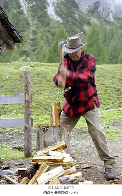 Austria, man chopping wood