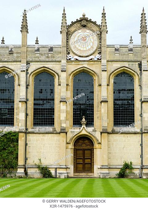 The sundial designed by Christopher Wren at All Souls College in Oxford from the Great Quadrangle at All Souls College in Oxford