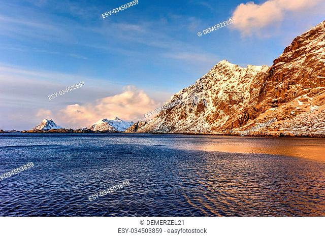 Stamsund in the Lofoten Islands, Norway in the winter