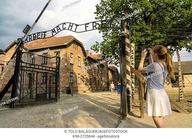 puerta principal, . campo de concentracion de Auschwitz I, museo estatal, Oswiecim, Polonia, eastern europe