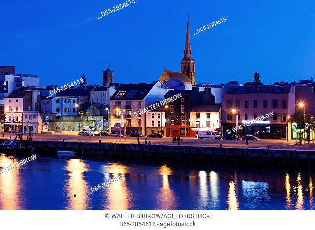 Ireland, County Wexford, Wexford Town, riverfront view, dusk