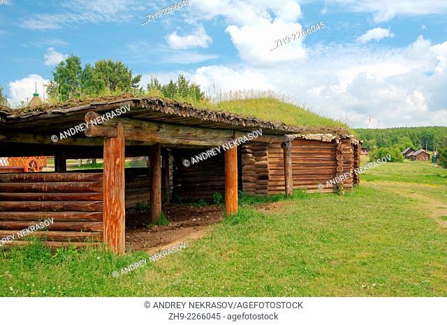 "traditional wooden Buryat house, """"Taltsa's"""" (Talzy) - Irkutsk architectural-ethnographic museum. Baikal, Siberia, Russia"