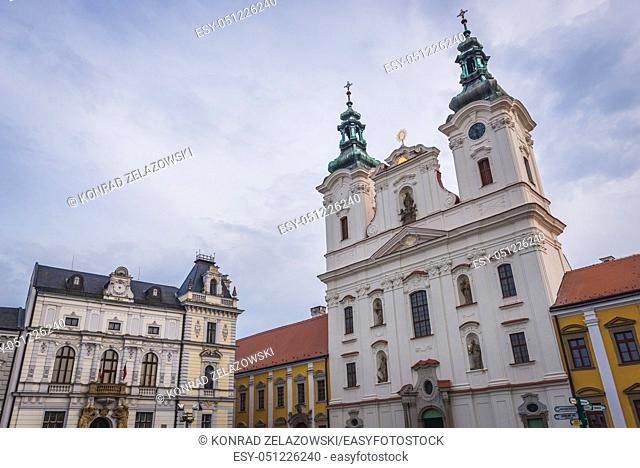 Church of Saint Francis Xavier and Town Hall on the Masaryk Square in Uherske Hradiste city in Zlin Region, Moravia in Czech Republic