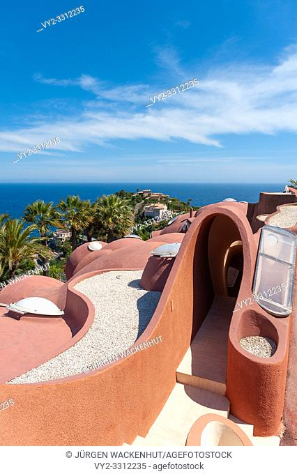 Architectural detail of the Palais Bulles in front of Mediterranean panorama, Théoule-sur-Mer, Var, Provence-Alpes-Cote d`Azur, France, Europe