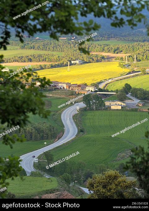 """C62 regional highway, called """"""""Eix del Lluçanès"""""""", seen from Prats del Lluçanès neighborhood, passing by Santa Creu de Jutglar village"""