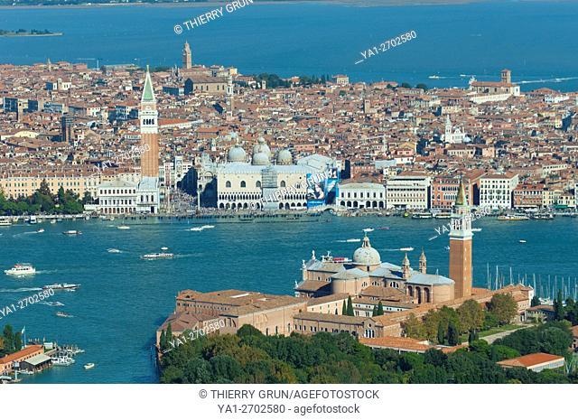 Italy, Venice lagoon, Guidecca, San Giorgio Maggiore and back Venice city (aerial view)