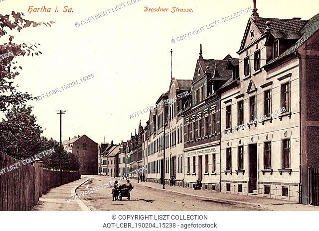 Buildings in Hartha, Postcards of buildings in Landkreis Mittelsachsen, Dresdener Straße (Hartha), 1913, Landkreis Mittelsachsen, Hartha, Dresdner Straße