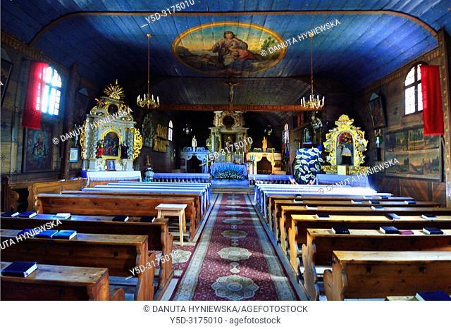 Kosciol Swietej Trójcy, wooden Pilgrimage Church of the Holy Trinity, church from 18th century (1724), end-fitted log framework construction