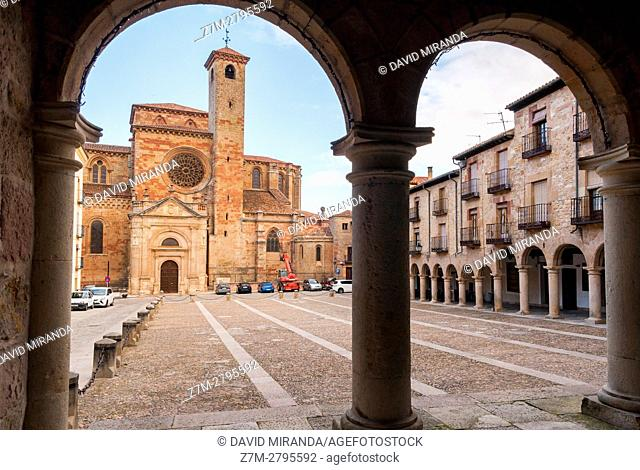 Santa María la Mayor Cathedral viewed from Town Hall, Sigüenza, Guadalajara province, Castile La Mancha, Spain. Historical Heritage Site