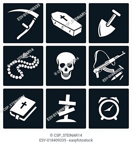Death and burial icons set