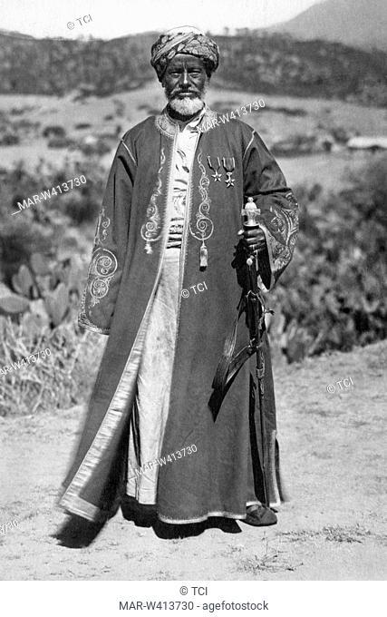 africa, ethiopia, elderly leader Habab in holiday dress, 1930-40
