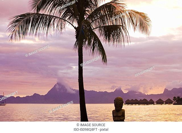 Sunset on tahiti with view of moorea