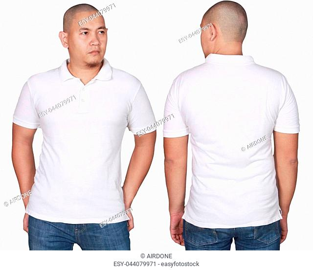 White polo t-shirt mock up, front and back view, isolated. Male model wear plain white shirt mockup. Polo shirt design template. Blank tees for print