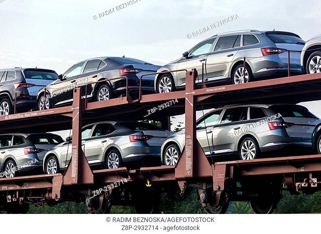 New Skoda cars on railway wagons produced by Skoda car factory Kvasiny