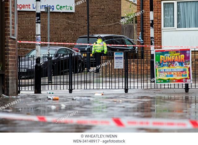 Crime scene in Queensbury NW London. A man was shot dead and another man injured in a shooting in north-west London.The victim, believed to be in his 30s