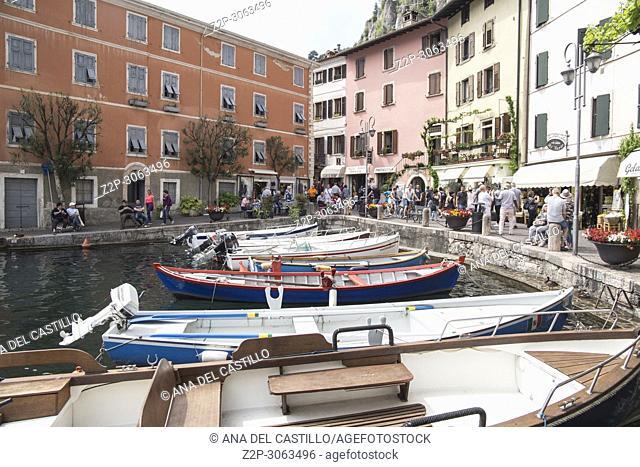 Limone sul Garda turquoise waterfront view, town in Lago di Garda, Lombardy, Italy