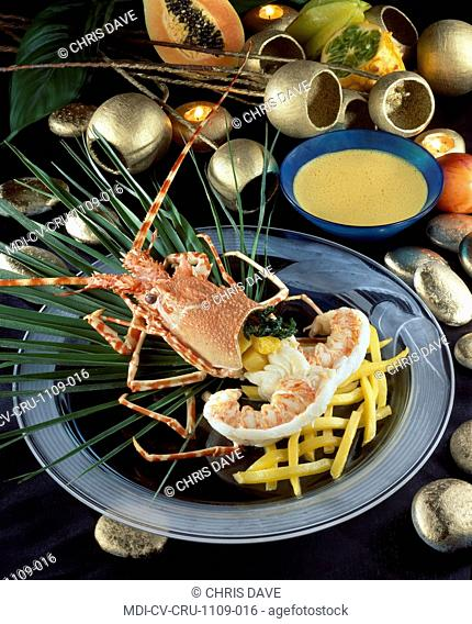 Sea crayfish with Thaï aromatic herbs