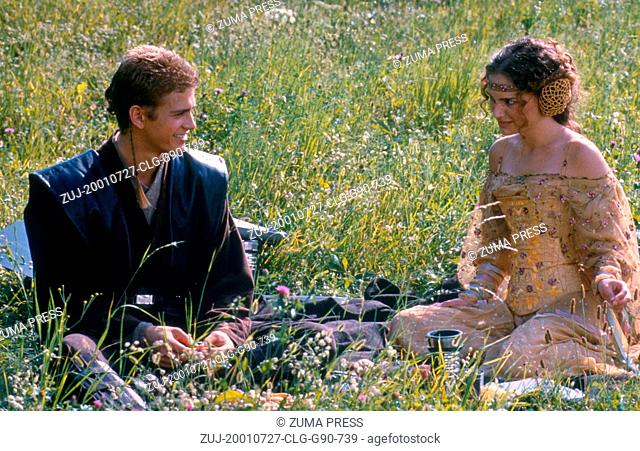 Jul 27, 2001; Los Angeles, CA, USA; Actor AYDEN CHRISTENSEN as Anakin Skywalker and NATALIE PORTMAN as Senetor Padme Amidala in 'Star Wars Episode 2: Attack of...