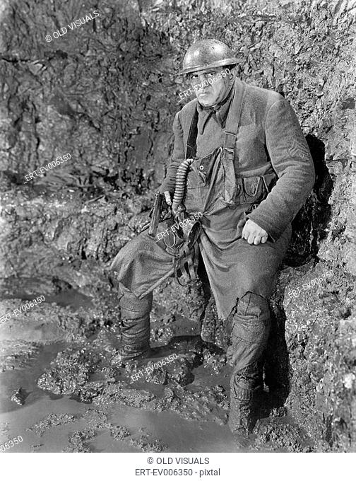 Soldier in a trench in World War I All persons depicted are not longer living and no estate exists Supplier warranties that there will be no model release...