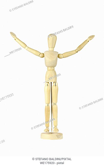 Wooden stickman with arms raised