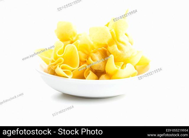 Italian stuffed pasta. Sacchettini pasta isolated on white background