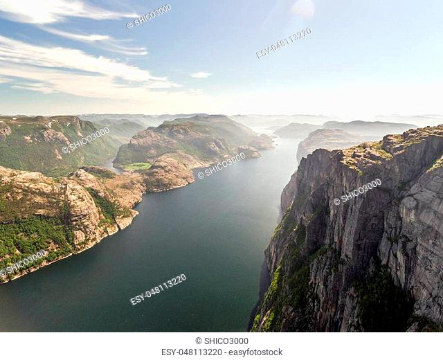 Pulpit Rock at Lysefjorden in Norway. The most famous tourist attraction in Ryfylke, towers an impressive 604 metres over the Lysefjord. Aerial view