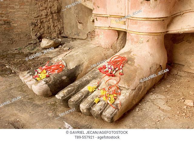 Asia Thailand, Sukhothai, Buddha's feet and merigolds'