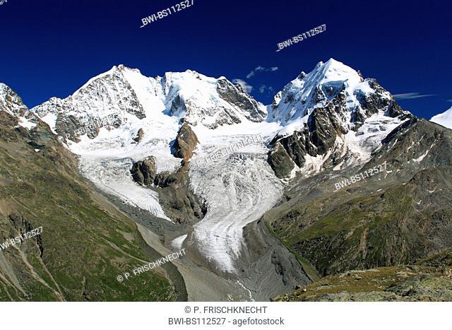 Piz Bernina, 4049 m, Biancograt, Piz Roseg, 3937 m, view from Fuorcla Sulej, 2755 m, Grisons, Oberengadin