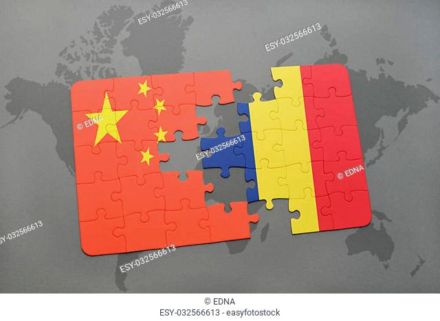 puzzle with the national flag of china and chad on a world map background. 3D illustration