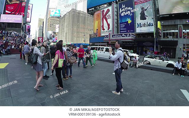 New York City, USA - 19 May 2015: Crowded bleacher seats and Times Square in Midtown Manhattan