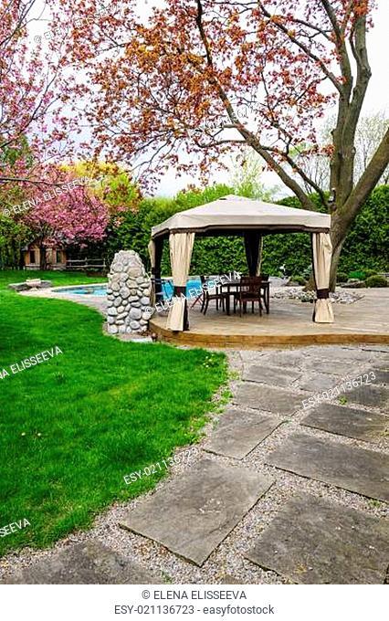 Backyard with gazebo and deck