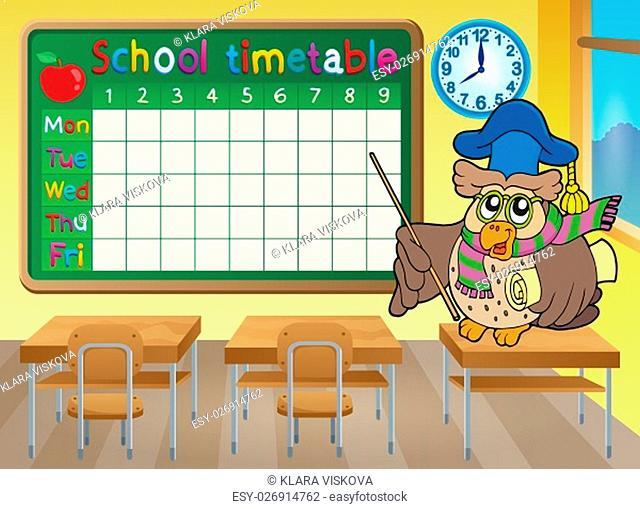 School timetable classroom theme 4 - picture illustration