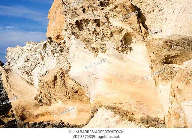 Ignimbrite is a deposit of pyroclastic flow (volcanic rock). This photo was taken in Morron de Los Genoveses, Cabo de Gata Geopark, Almeria province, Andalucia